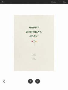Paperless Post birthday card completed